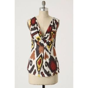 Anthro Weston Wear Up Close Ikat Cowl Neck Top